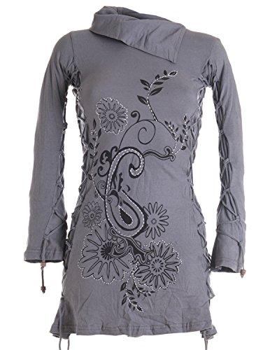 Vishes - Alternative Bekleidung - Langärmlige Tunika mit großem Kragen, aufgestickten Blumen und Raffinierter Schnürung grau 36
