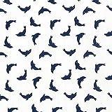 Unbekannt Cretonne Delfin – weiss — Meterware ab 0,5 m