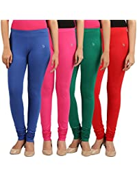 FlyColors Women's Cotton Churidar Leggings(Pack Of 4)