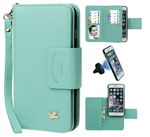 Case for iPhone 7, xhroizon Custodia Folio in pelle Premium [Magnetico] Cordino Mano Stile Flip Book Molteplici Card Slot Tasca Cash con Cover di Protezione Magnetica per iPhone 7 [4.7] Verde menta + Nero Supporto magnetico Auto