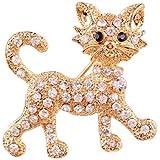 Broche de Gato con Diamantes de imitación para Mujer con círculo Profusion