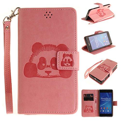 Sony Xperia Z2 Hülle, Niedlicher Panda Muster PU Leder Flip Schutzhülle Cover Mit Magnet Schließung Für Sony Xperia Z2 (Pink)