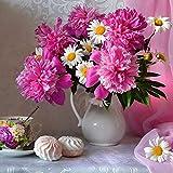Weehey DIY 5D Diamant Peinture Rose Blanc Bouquet De Fleurs Strass Broderie Perceuse Complète Gem Images Mur Art Craft et Décoration de La Maison-2