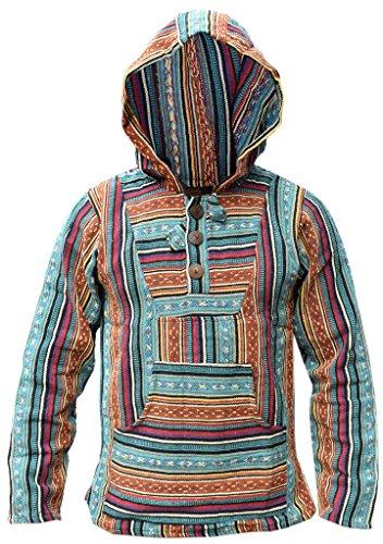 Sudadera con capucha estilo Baja de Little Kathhmandu, diseño étnico multicolor a rayas, algodón azul Petrol Mix Large