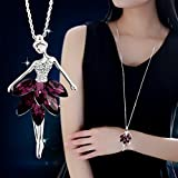 #8: Fashion Jewelry Violet Crystal Ballet Dance Girl Pendant Necklace Ballerina Chain (Purple)
