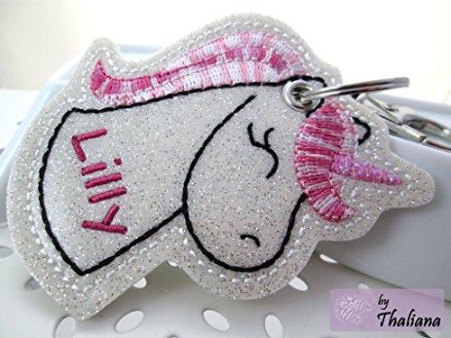 EINHORN mit Namen personalisierbar Schlüsselanhänger Taschenanhänger tolles Geschenk zum Valentinstag