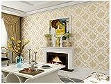 XPY-Wallpaper Non-Woven-feine europäische-Stil Dreidimensionale geprägte Tapeten Umweltfreundliche Vlies Wohnzimmer Schlafzimmer Hintergrund, gelb