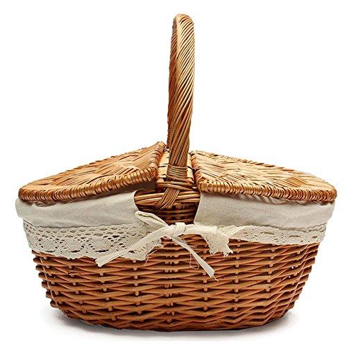 HUVE Geflochten Korb aus Rattan Korb mit 2 Deckeln Weidenkorb Einkaufskorb Aufbewahrungskorb Picknickorb (Khaki(klein))