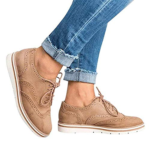 Rioneo Damen Schnürschuhe Oxford Schuhe Feminine Brogues Flache Freizeit Vintage Schnürer Schuhe Schwarz Pink Grau Blau Brown 35-43 Brown 38
