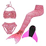 Superstar88 Mädchen Cosplay Kostüm Badebekleidung Meerjungfrau Shell Badeanzug 3pcs Bikini Sets Tolle Geschenksidee ! (130, Rosa)
