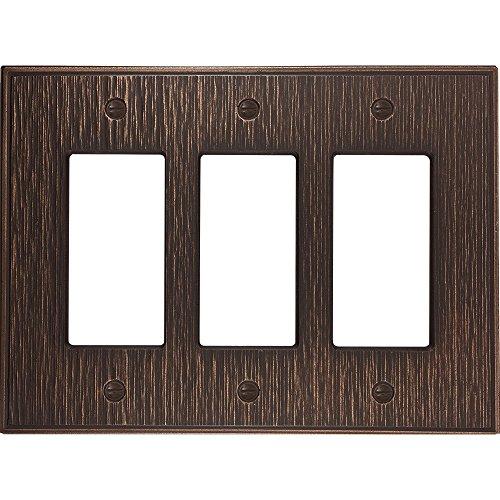 questech Twill strukturiert Metallic Switch Plate/-Auslass Cover Triple Decorator Oil Rubbed Bronze Franklin Teller