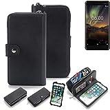 K-S-Trade 2in1 Handyhülle für Nokia 6.1 Schutzhülle & Portemonnee Schutzhülle Tasche Handytasche Case Etui Geldbörse Wallet Bookstyle Hülle schwarz (1x)