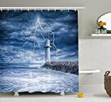LZHsunni88 Lighthouse Decor Collection, Lighthouse Thunderstorm Turbulent Wind Moody Weather Dramatic Sky Scene, Polyester Fabric Bathroom Shower Curtain, 75 Inches Long, Navy Blue Dimgray