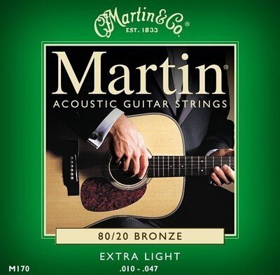 Paxten(TM)M170 80/20 Bronze Round Wound Extra Light Acoustic Guitar Strings 10 - 47
