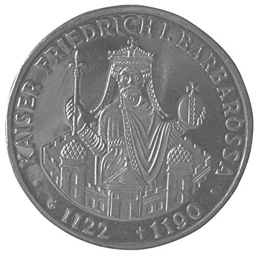 Silber-Münze offizielle 10-DM Gedenk-Münze, Karl der Große, 800 Jahre Barbarossa (800 Jahre Barbarossa) (Römische Kaiser Krone)