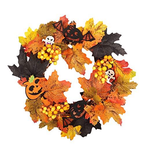 Ghirlanda, 35 cm collane lei con floreale fermaglio capelli festa decorazioni fiori rattan berry maple leaf fall porta wreath parete ornamento halloween (a)