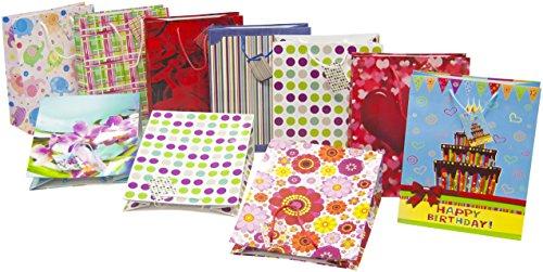 Heku 10 Geschenktaschen mit Verschiedenen Motiven, groß