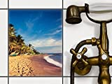 PVC Fliesen | Dekorations-Sticker Aufkleber Folie Badfolie Küchen-Fliesen Badezimmergestaltung | 20x25 cm Design Motiv Longboat Beach - 1 Stück