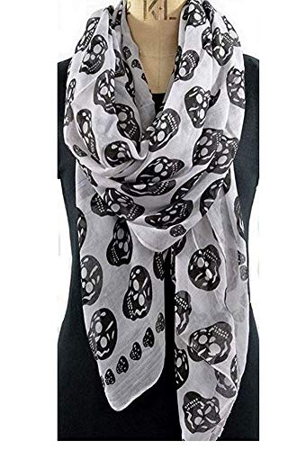 Pañuelo, bufanda Calavera blanco y negro 175x80 cm.