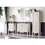 Landhaus Badmöbel Set im Romantik Stil ● Pinie Massivholz weiß ● 80cm Waschtisch-Unterschrank mit Keramik-Waschbecken ● Hochschrank, Unterschrank & Spiegel ● Stand Badmöbel
