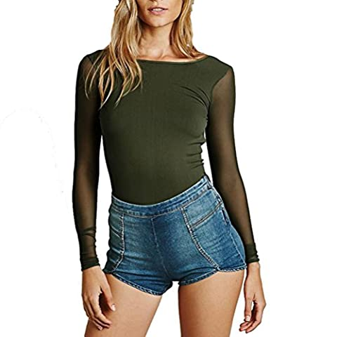 Tefamore Fashion Women Sexy Blouse à manches longues Backless Slim Perspective T-Shirt (S, Vert)