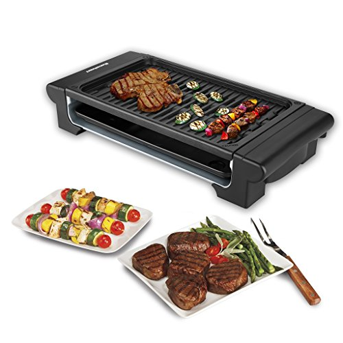 Image of Excelvan Portable Electric Grill Indoor Barbecue with Large Easy Cleanup Cooking Surface and Thermostat Drip Tray,1400W
