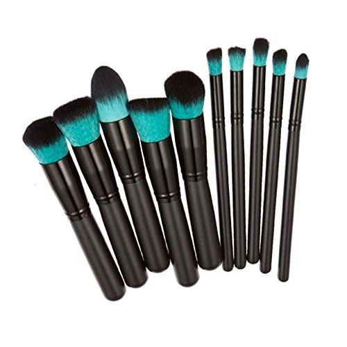 Scrox 10pcs Set de Brosse Maquillage Kit de Toilette Set de Brosse de Maquillage Maquillage du Visage Votre Expert en Maquillage Professionnel (Noir)