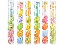 Uova di Pasqua maxi in plastica dipinte a mano in tubo da 6 pz. Ass. in 6 fantasie Misure: Ø5 cmx8H (c/cordino16)Tubo: 43 H, Materiale: Plastica. IL PREZZO E' PER 36 OVETTI!!! art543537