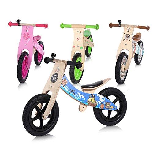 Baby Vivo Bicicleta de Equilibrio sin Pedales 12 Pulgada de Madera con Timbre de Bicicleta - Jack