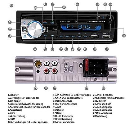 Wysgvazgv-Autoradio-mit-Bluetooth-Freisprecheinrichtung-und-Lenkrad-Fernbedienung-BT-AUX-TF-WMA-FM-Radio-MP3-Media-Player-1-DIN-Anschluss-65W-x-4-Autoradio-2-USB-Anschlsse-fr-Musikspielen-Aufladen
