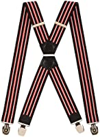 Ranger Mens braces X shape 3,5cm wide adjustable and elastic suspenders with a very strong clips - Heavy duty
