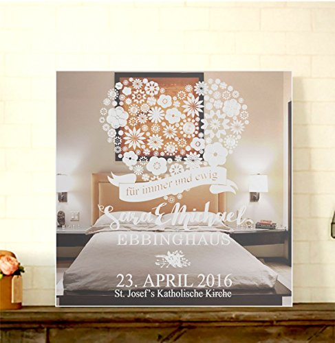 GRAVURZEILE Motivspiegel Hochzeit Immer & ewig mit Gravur Wanddeko & Wanddekoration Spiegel mit Gravur schönes Geschenk zur Hochzeit – Personalisierbar Size 30 x 30 cm