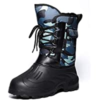 Zapatos Invierno Mujer Botas De Nieve,Protección Del Frío Invierno Impermeable Tubo Corto Camuflaje Azul Suave Caliente Cómodo Tubo Medio De Amortiguación Botas De Algodón Antideslizante Exterio