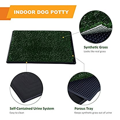 PawHut Indoor Dog Toilet Puppy Cat Pet Training Mat Potty Tray Grass Restroom Portable (51L x 64W x 3T (cm)) 4