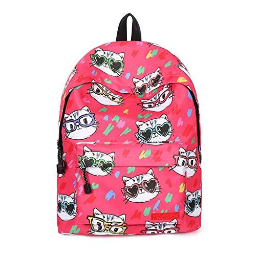 (JAWHG Mädchen Wasserdicht Große Kapazität Rucksack Grundschule und Weiterführende Schule Niedlich Katze Schultasche Lässig Reisen Rucksack,Pink-OneSize)