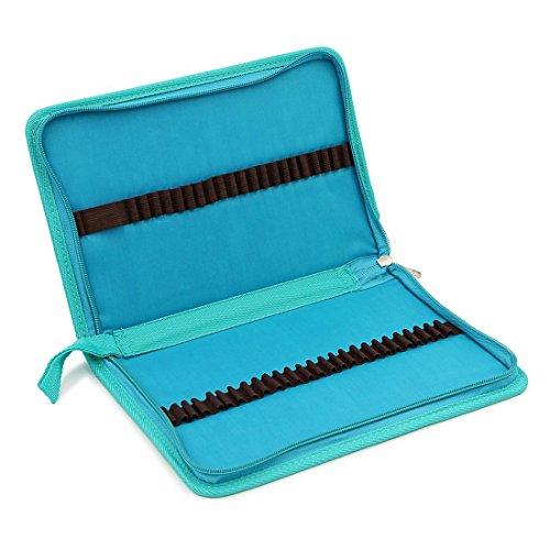 Zhengdu - Astuccio portatile multicolor per 48 matite colorate, in tela con cerniera Blue
