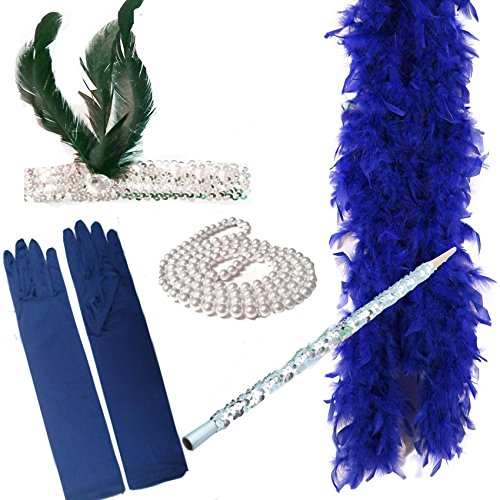 FLAPPER 5 PIECE SET Ladies Charleston Fancy Dress 1920's (BLUE) by Paper Umbrella Fancy ()
