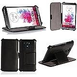 LG G3 Tasche Leder Style schwarz Hülle Cover mit Stand - Zubehör Etui smartphone 2014 LG G3 3G/4G/LTE Flip Case Schutzhülle (Handy tasche folio PU Leder, Black) - Brand XEPTIO accessoires