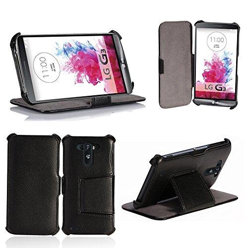 LG G3 Tasche Leder Style schwarz Hülle Cover mit Stand - Zubehör Etui smartphone 2014 LG G3 3G/4G/LTE Flip Case Schutzhülle (Handy tasche folio PU Leder, Black) - Brand XEPTIO accessoires Lg G3 Dual-sim-32