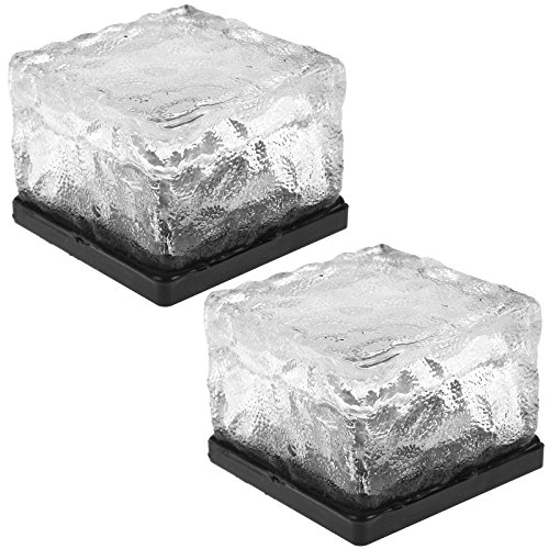 ASAB | Solar Garten Glas Ice Cube Bright Weiß LED Licht | Outdoor Garden Feature Rock Stein Block Teich Lampe Terrassenfliesen Dekoration | Wetterfest, 2 Light