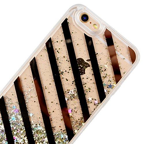 SMART LEGEND iPhone 6 Plus/iPhone 6S Plus Weiche Silikon Bumper Liquid Hülle Glitter Transparent Hart Rückseite Schutzhülle mit Linie Gold Bling Muster Fließen Flüssig Schwimmend Premium Shiny Glanz S Schwarz Linie