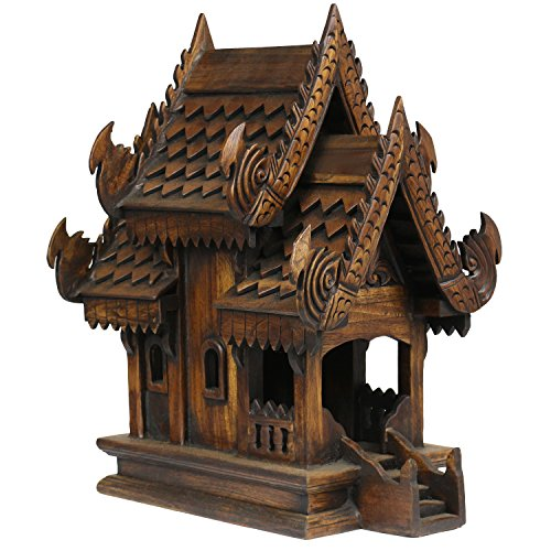 Geisterhaus Geisterhäuschen San Phra Phum Feng Shui Thailand Holzhaus Schrein Altar Braun Asien ca. 42 cm hoch