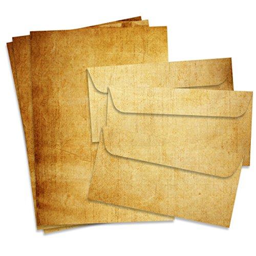 Fiesta Cards Vintage Papel de Carta y Sobres, Formato DIN A4(21x 29,7cm) y DIN Largo, gramaje 90–100g/m², Doble Cara, Adecuado para Todas Las impresoras