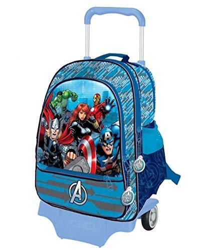 Marvel avengers zaino trolley staccabile scuola grande 41 x 34 x 18,5 cm prodotto ufficiale (azzurro)