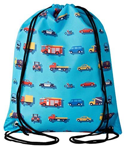 Aminata Kids - Kinder-Turnbeutel für Mädchen und Junge-n mit BAU-Fahrzeuge Feuerwehrauto Betonmischer Auto-s Sport-Tasche-n Gym-Bag Sport-Beutel-Tasche hell-blau rot gelb Bagger...