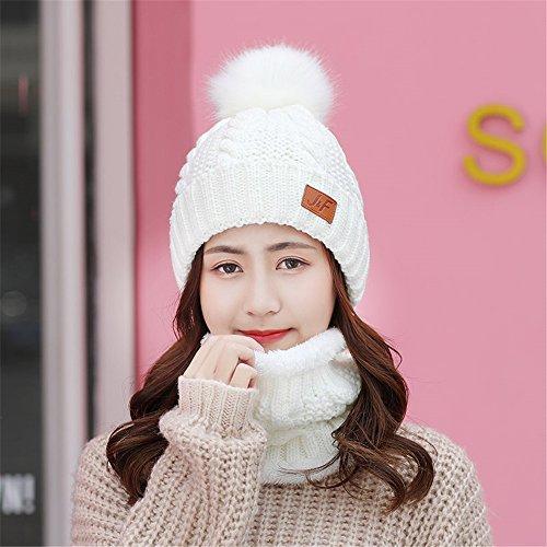 Freundin Freund Urlaub Geschenke Frauen Kinder süße Ohr Kappe Hut Schal zwei Stück im Herbst und Winter mit warmen cashmere Lady M (56-58 cm), hat Milch weißer Kragen Set -