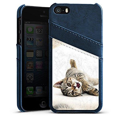 Apple iPhone 5 Housse Outdoor Étui militaire Coque Chat Kitten Petit chat Étui en cuir bleu marine