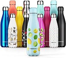 Proworks Bottiglia Acqua in Acciaio Inox, Senza BPA Vuoto Isolato Borraccia Termica in Metallo per Bevande Calde per 12...
