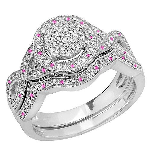 Damen Ring / Ehering 925 Sterling Silber Rund Rosa Saphir Und Diamant Womens Verlobungsring Ehering Set