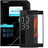 SOCU Protection écran Sony Xperia XZ, Film de protection d'écran en Verre Trempé [3D Couverture complète] pour Sony Xperia XZ - Noir